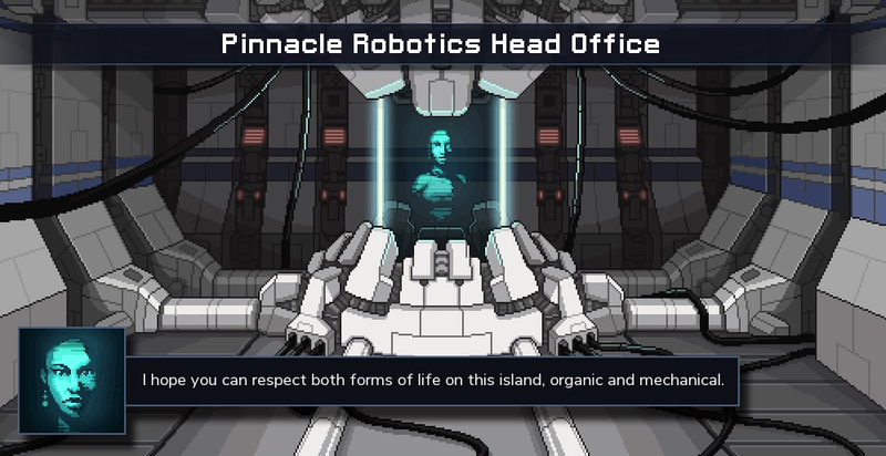 Zenith is the CEO of Pinnacle Robotics who gives you orders on that island.