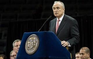 New York City Police Commissioner Bill Bratton speaks at an NYPD graduation ceremony at Madison Square Garden Dec. 29, 2014, in New York City.Andrew Burton/Getty Images