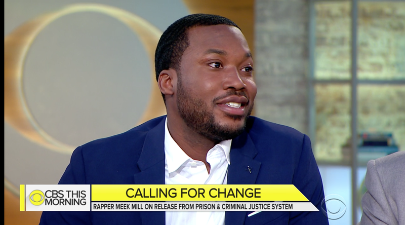 Meek Mill appeared on CBS This Morning on May 8, 2018, to call for criminal-justice reform, a call that follows his own release from prison.