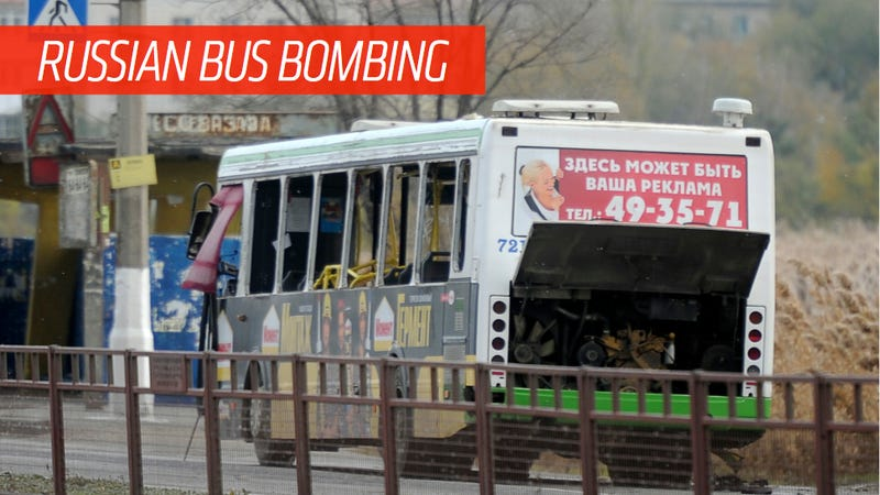 Illustration for article titled Dash Cam Video Captures Russian Bus Bombing That Killed Six