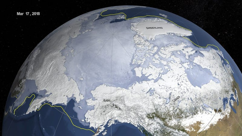 The maximum extent of Arctic sea ice, shown in the graphic above, was recorded on March 17th this year. The yellow line indicates the 30-year average maximum from 1981 to 2010.
