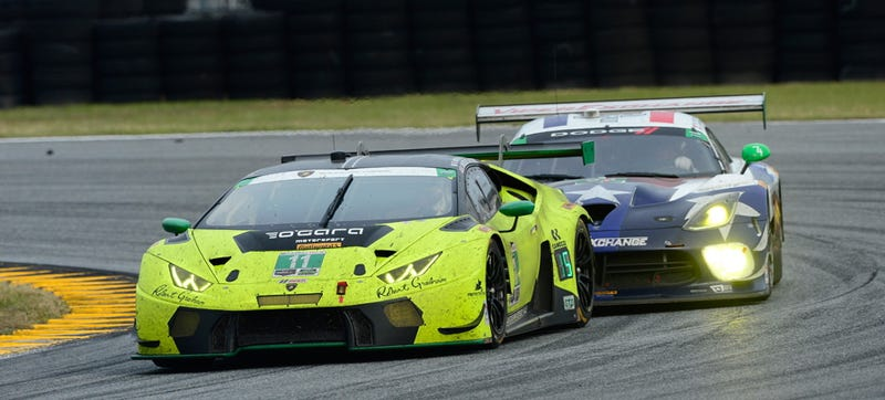 Illustration for article titled Every Lambo At Daytona Was Penalized For Being Faster Than The Series Expected