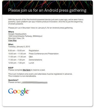 Illustration for article titled Android Event Scheduled for January 5th: The Google Phone Is Nigh