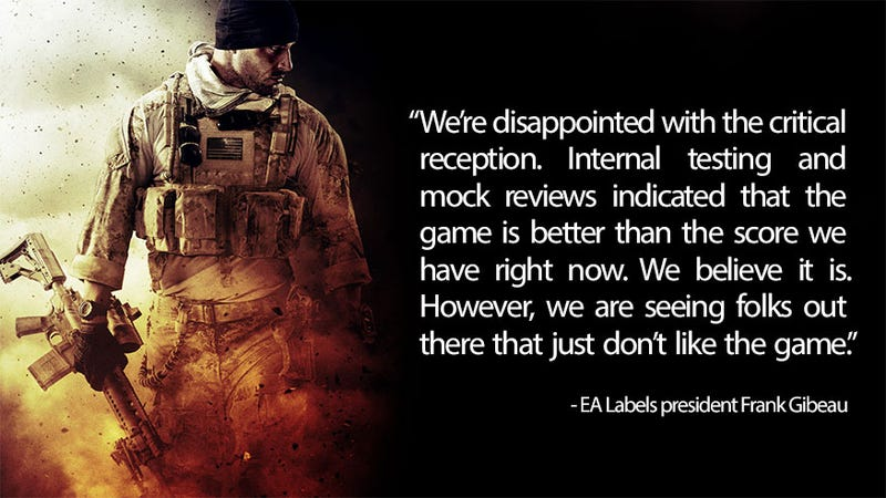 """Illustration for article titled EA Thought Medal of Honor: Warfighter Was """"Better"""""""