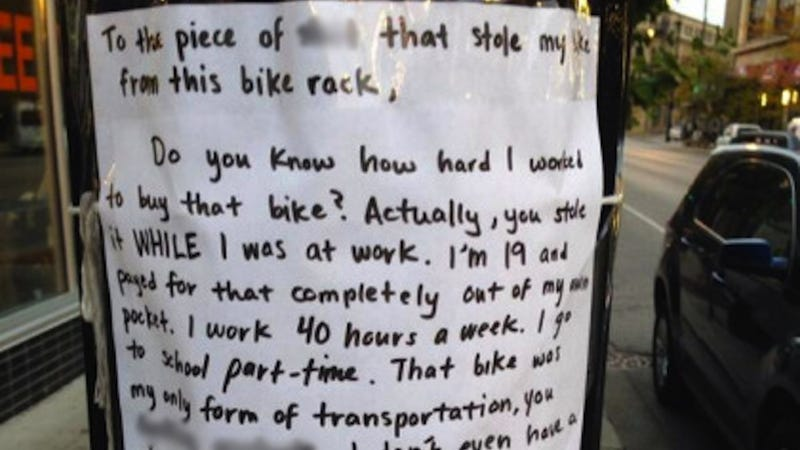 Illustration for article titled Woman's Angry Note to Bike Thief Catches Attention of Good Samaritan