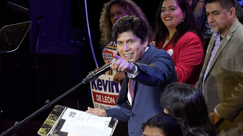 Kevin de Leon, state Senate president pro tem and Democratic candidate for the U.S. Senate, acknowledges staff as he speaks during an election party Tuesday, June 5, 2018, in Los Angeles.