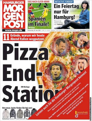 Illustration for article titled German Newspaper Has Brilliantly Lowbrow Front Page Ahead Of Italy Match