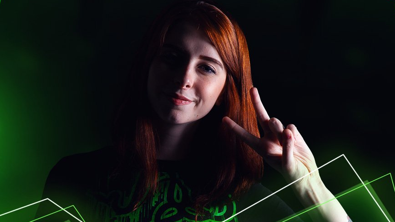 Streamer and influencer Gabriela Cattuzzo posing for a Razer promotion.