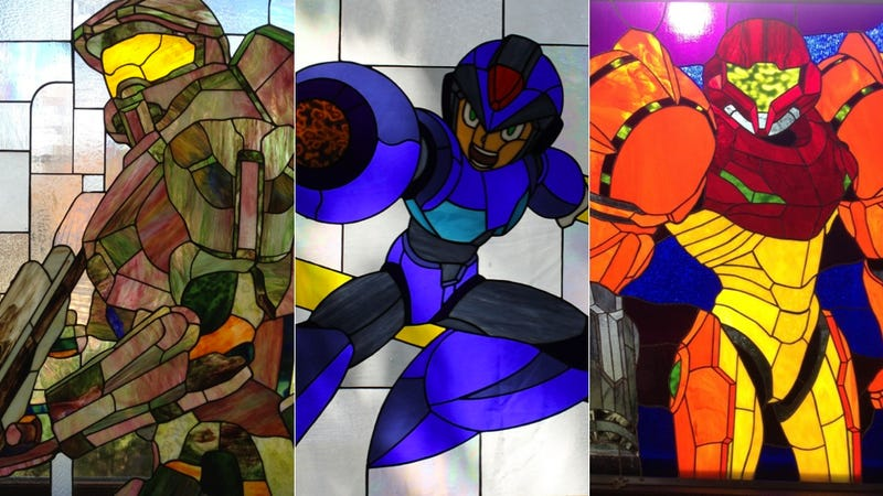 Illustration for article titled Let This Halo, Mega Man and Metroid Stained Glass Turn Your Home Into a Video Game House of Worship