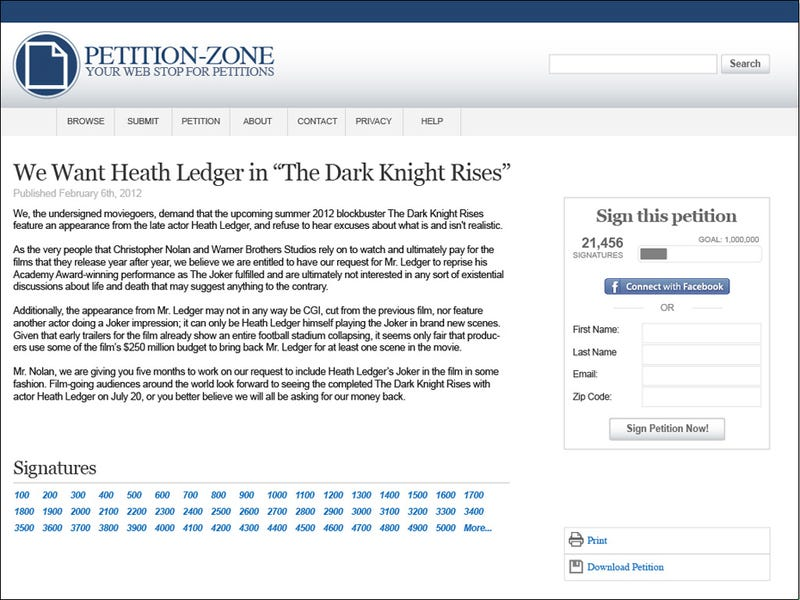 """Illustration for article titled Petition: We Want Heath Ledger In """"The Dark Knight Rises"""""""