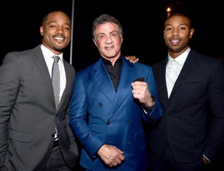 Creed director Ryan Coogler and actors Sylvester Stallone and Michael B. JordanAlberto E. Rodriguez/Getty Images
