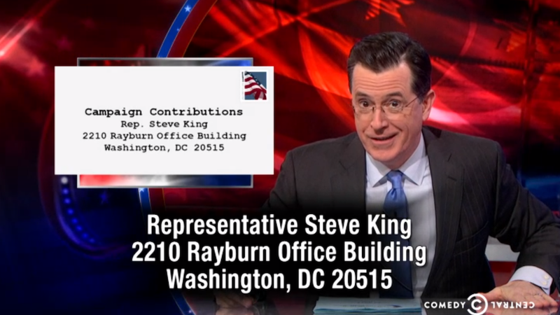Illustration for article titled Stephen Colbert Requests You Send Rep. Steve King Your Gay Sex Tapes