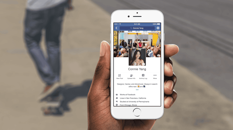 """Facebook touts its profile feature """"where you can express who you are and what's going on in your life.""""Facebook"""