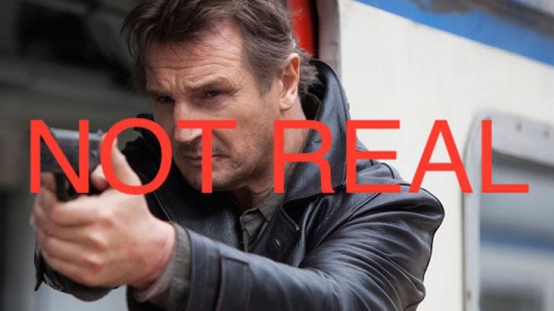 Illustration for article titled Liam Neeson helpfully informs American parents that Taken is fiction