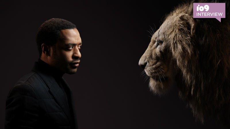 Chiwetel Ejiofor and Scar from Disney's remake of The Lion King.
