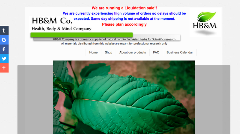 A reputable kratom distributor advertising a full liquidation. Image: Healthbodyandmindcompany.com.