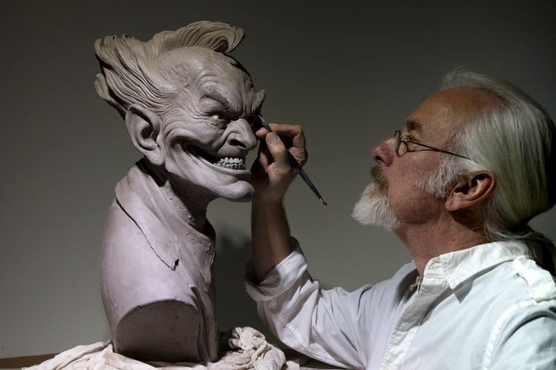Rick Baker at work on his version of the Joker.