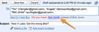 """Illustration for article titled """"Got the Wrong Bob"""" Gmail Feature Saves You from Emailing the Wrong Person"""