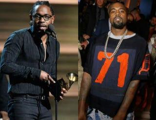 Kendrick Lamar; Kanye WestKevork Djansezian/Getty Images;Victor Boyko/Getty Images for Vogue