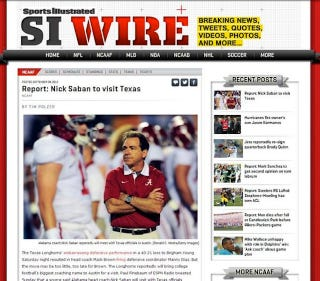 Illustration for article titled Sports Illustrated Falls For Satire About Nick Saban Visiting Texas