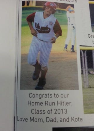 """Illustration for article titled Yearbook Typo: """"Congrats To Our Home Run Hitler"""""""
