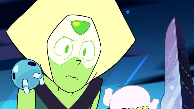 Illustration for article titled Steven Universe explores bad-guy-turned-good territory with Peridot