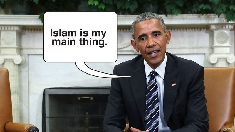 Illustration for article titled Debunked: The Photo Of Obama With A Speech Balloon Saying 'Islam Is My Main Thing' Has Been Proven To Be Doctored