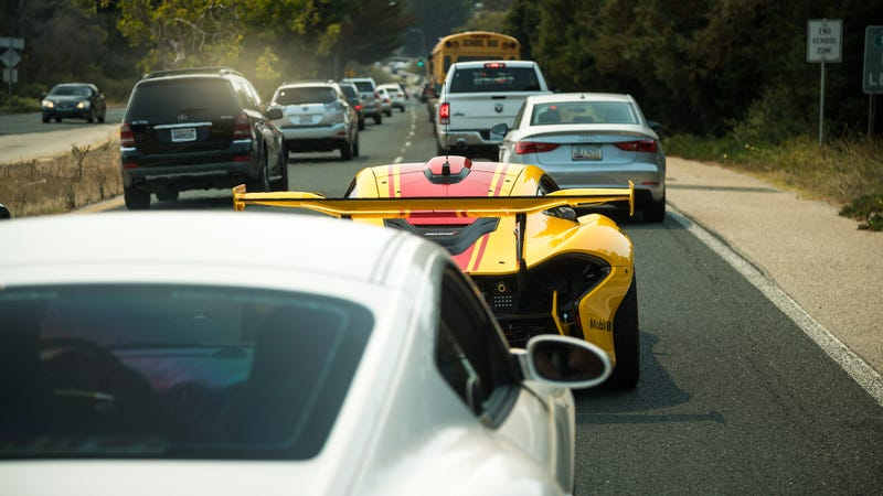 A very real McLaren P1 GTR stuck in traffic like everybody else. This was shot at Pebble Beach last week by our own Mike Roselli.