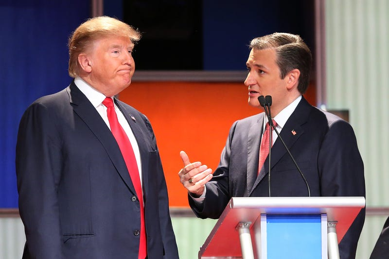 Donald Trump and Sen. Ted Cruz of Texas at the Fox Business Network Republican presidential debate at the North Charleston Coliseum and Performing Arts Center on Jan. 14, 2016, in South Carolina.Scott Olson/Getty Images