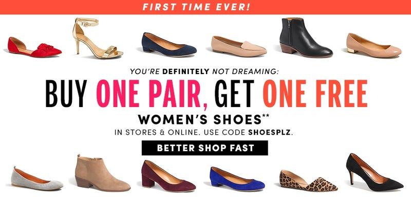BOGO women's shoes at J.Crew Factory