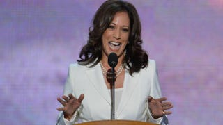 California Attorney General Kamala D. Harris speaks to the audience at the Time Warner Cable Arena in Charlotte, N.C., Sept. 5, 2012, on the second day of the Democratic National Convention.STAN HONDA/AFP/GettyImages