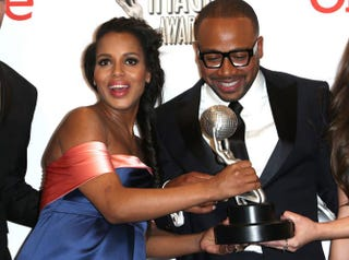 Kerry Washington and Columbus Short, winners of the Outstanding Drama Series award for Scandal, pose in the press room during the 45th NAACP Image Awards presented by TV One at Pasadena Civic Auditorium on February 22, 2014 in Pasadena, Calif.Frederick M. Brown/Getty Images for NAACP Image Awards