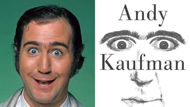 Photo: Jim Britt/Getty Images (left), Andy Kaufman: The Truth, Finally book cover