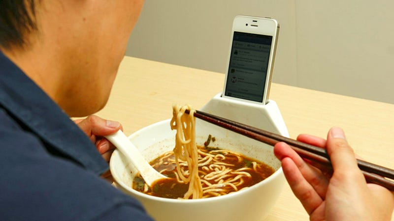 Illustration for article titled Dining Alone on Ramen Is a Little Less Depressing With a Smartphone Dock Bowl