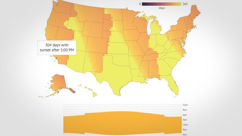 Illustration for article titled This Interactive Map Shows Exactly How Much Daylight Saving Time Affects You