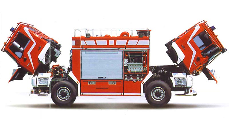 Illustration for article titled The Tragic Story Of Why This 'Two-Headed Fire Truck' Is So Impressive