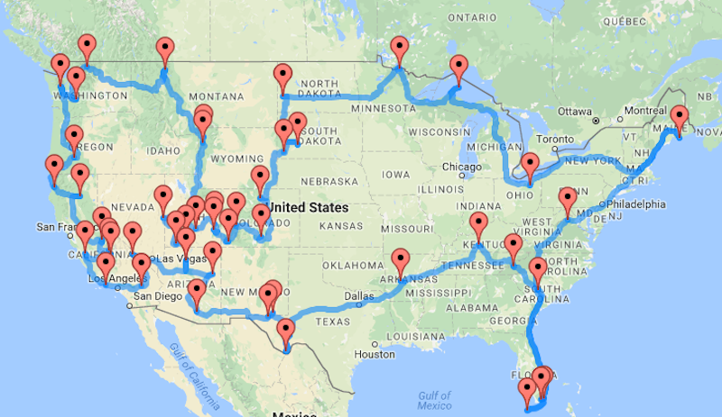 This Map Shows You The Best Road Trip Route Between