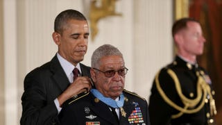 President Barack Obama presents the Medal of Honor to U.S. Army Staff Sgt. (Ret.) Melvin Morris, a Vietnam War veteran, during a ceremony in the White House.Joe Raedle/Getty Images