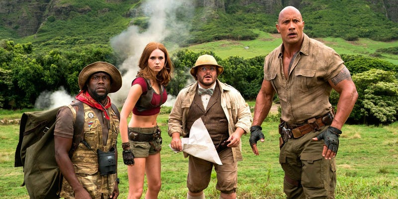 "Kevin Hart, Karen Gillan, Jack Black and Dwayne ""the Rock"" Johnson (Sony Pictures)"