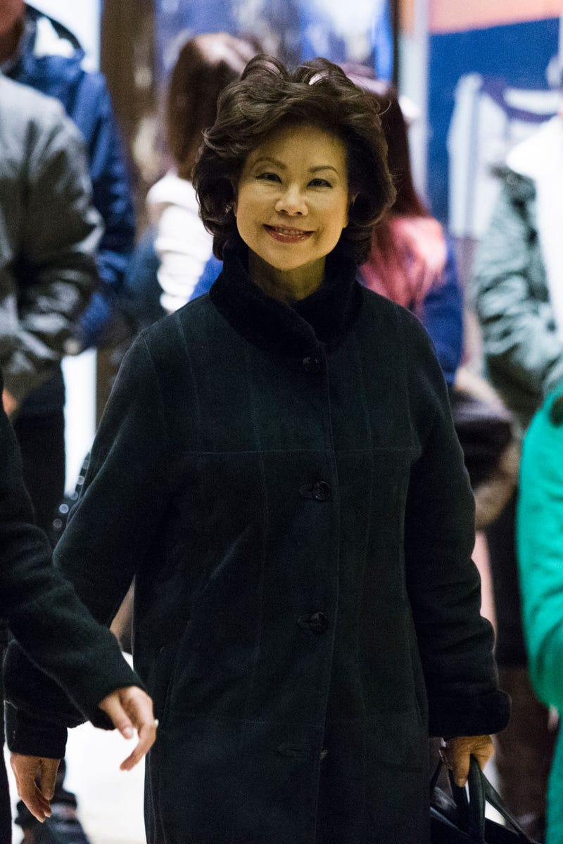 Former U.S. Secretary of Labor Elaine Chao arrives at Trump Tower in New York City on another day of meetings scheduled with President-elect Donald Trump on Nov. 21, 2016. EDUARDO MUNOZ ALVAREZ/AFP/Getty Images