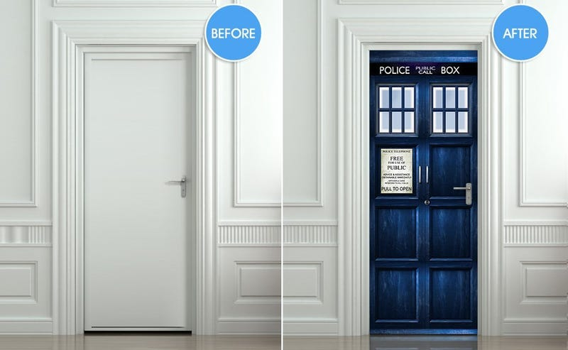 Illustration for article titled We'd be willing to wage a Time War to get this TARDIS door sticker
