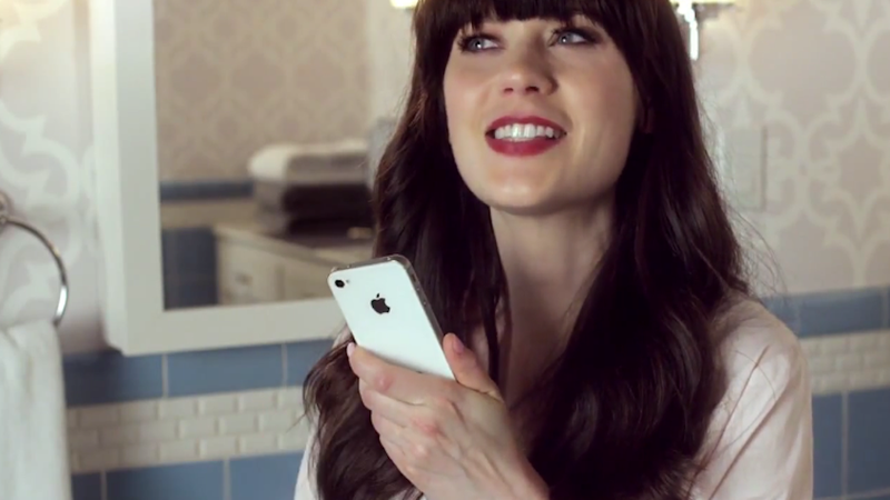 Illustration for article titled Ten Adorable Fun Super GIFs of Zooey Deschanel Talking to Siri