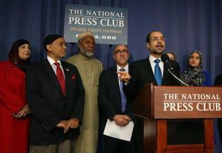 Nihad Awad, national director of the Council on American-Islamic Relations, speaks to the media during a news conference at the National Press Building in Washington, D.C., on Dec. 21, 2015.Mark Wilson/Getty Images
