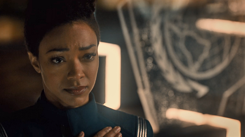 Burnham reclaims her badge at the end of Discovery's first season.