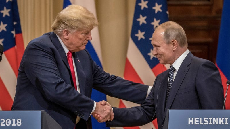 U.S. President Donald Trump and Russian President Vladimir Putin shake hands on July 16, 2018 during a meeting in Finland