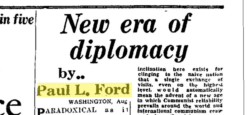 Excerpt from a newspaper article in Jamaica published August 26, 1959, written by the American government under a fake name, Paul L. Ford