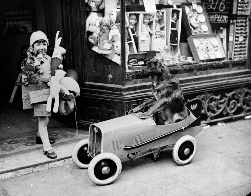 """A Dog Goes Shopping,"" circa 1932: Henry Sandoni leaving a West End toy shop, laden down with Christmas presents, while his dog waits patiently in the car. (Photo: Hulton Archive/Getty Images)"