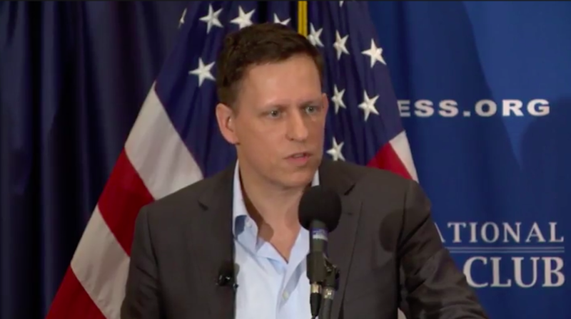 Peter Thiel at the National Press Club in D.C. this morning.