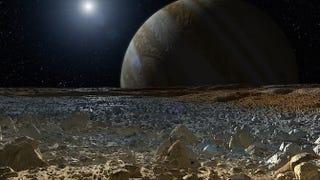 Illustration for article titled Los géiseres de Europa, la luna de Júpiter, desaparecen misteriosamente