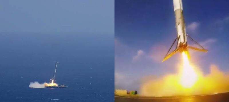 Illustration for article titled Así fue el intento de aterrizaje del Falcon 9 visto desde la barcaza